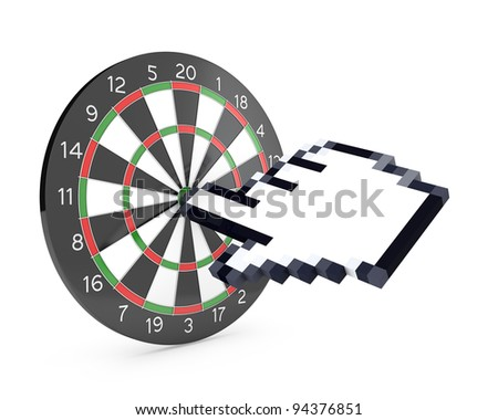 Hand cursor hits the dartboard, isolated on white background - stock photo