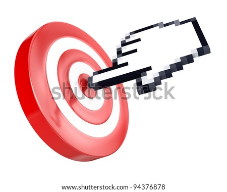 Hand cursor hits the target, isolated on white background - stock photo