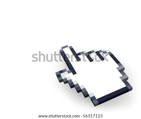 Hand cursor in perspective - stock photo
