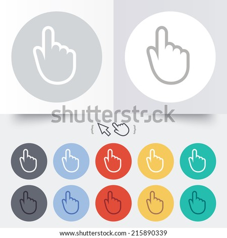 Hand cursor sign icon. Hand pointer symbol. Round 12 circle buttons. Shadow. Hand cursor pointer.