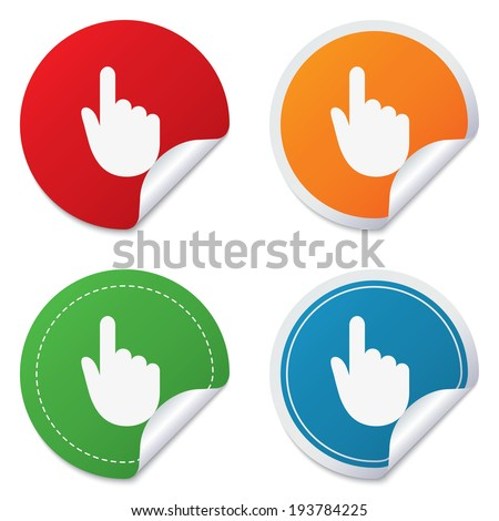 Hand cursor sign icon. Hand pointer symbol. Round stickers. Circle labels with shadows. Curved corner.