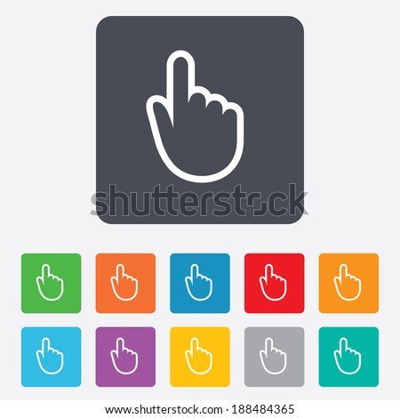 Hand cursor sign icon. Hand pointer symbol. Rounded squares 11 buttons.
