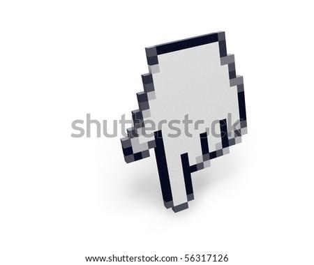 Hand cursor standing left view - stock photo