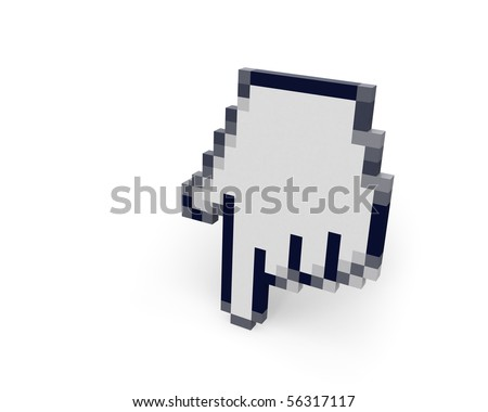 Hand cursor standing right view - stock photo