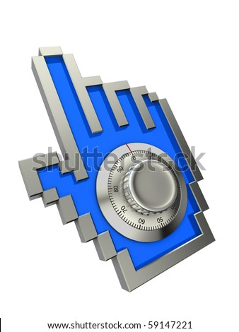 Hand cursor with combination lock - stock photo
