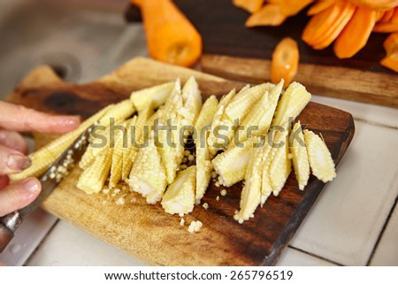 Hand cutting vegetable for use in cooking - stock photo