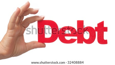 hand debt red - stock photo