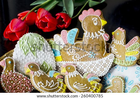 Hand decorated Easter gingerbread - stock photo