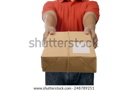 Hand deliver a package isolated over white background