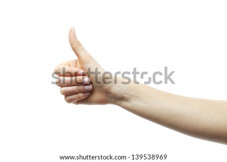 Hand doing a thumb up gesture isolated on white.