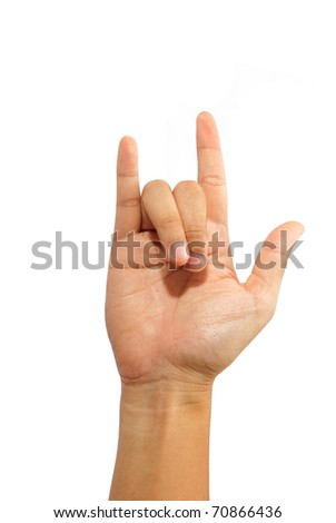 Hand Doing I Love You Sign Language Gesture - stock photo