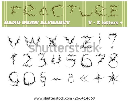 Hand draw alphabet. Fractured letters from v to z and numbers. Isolated on white background. - stock photo