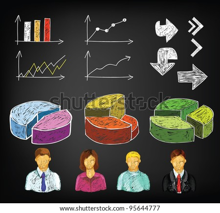 Hand draw business charts and avatars in vector - stock photo
