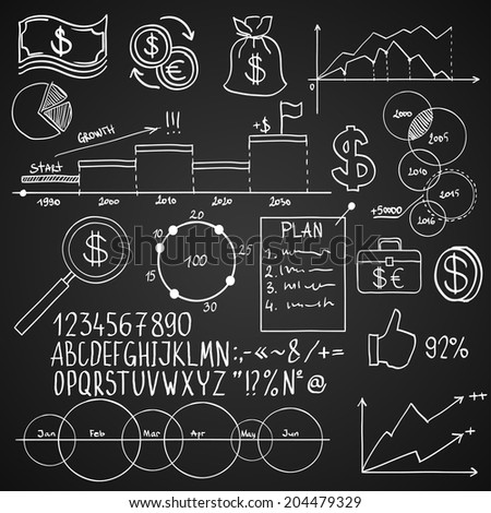 Hand draw doodle elements money and coin icon, chart graph. Concept bank business finance analytics earnings - stock photo