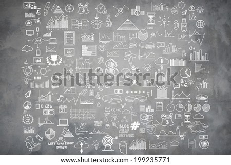 Hand draw doodle elements money and coin icon, chart graph on gray concrete wall. Concept bank business finance analytics earnings - stock photo
