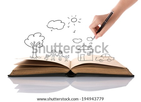 Hand draw in open book of lovely family - stock photo