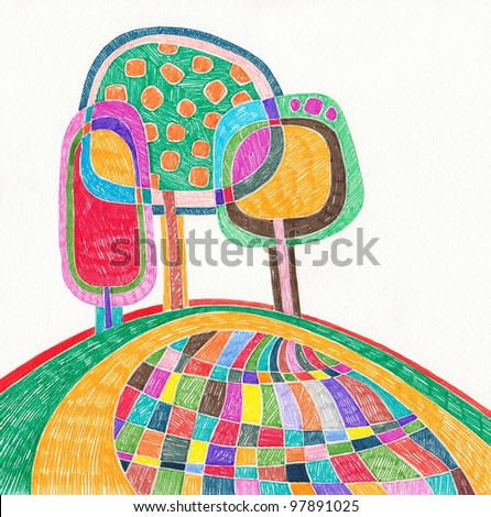hand draw marker doodle illustration - stock photo