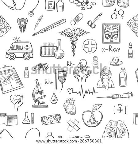 hand draw medicine pattern - stock photo