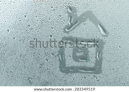 Hand draw on surface and water drop. - stock photo
