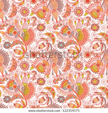 hand draw ornate seamless flower paisley design background, raster version