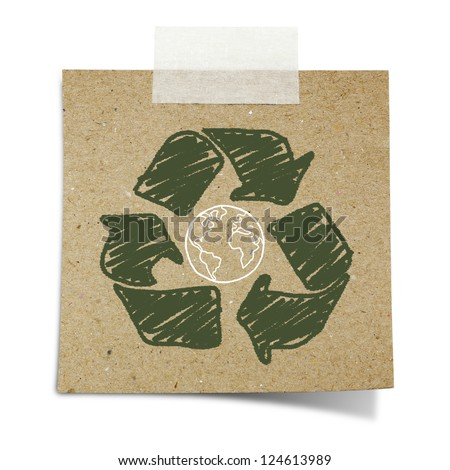 hand draw recycle sign and earth on note taped recycle paper - stock photo