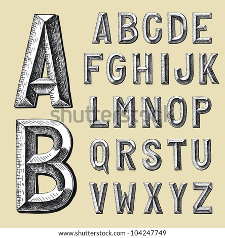 hand draw sketch alphabet design. Raster version - stock photo
