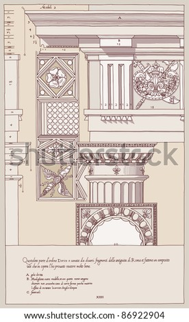Hand draw sketch doric architectural order. Bitmap copy my vector ID 84869035 - stock photo