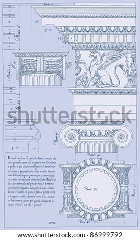 Hand draw sketch ionic architectural order. Bitmap copy my vector ID 84472303 - stock photo