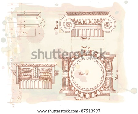 Hand draw sketch ionic architectural order. Bitmap copy my vector id 85338508 - stock photo