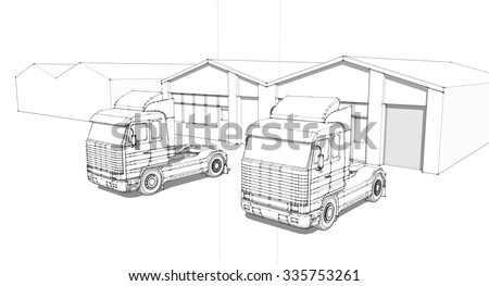 Hand draw sketch trucks warehouse stock illustration for Draw layout warehouse