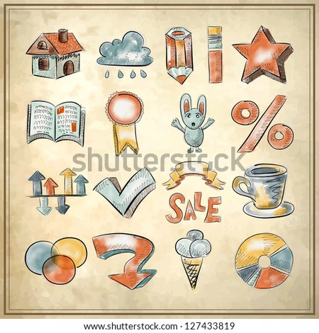 hand draw sketch watercolor icon collection on grunge background, raster version - stock photo