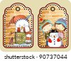 hand draw sketchy christmas tags with happy snowman. Raster version - stock