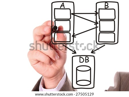 Hand drawing a black computer system data flow diagram - stock photo