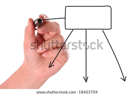 Hand drawing a black diagram left-hand person - stock photo