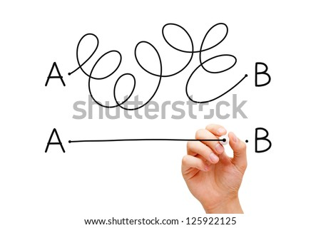 Hand drawing a concept about the importance of finding the shortest way to move from point A to point B, or finding a simple solution to a problem. - stock photo