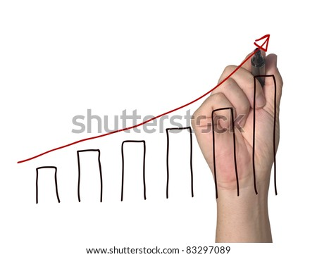 hand drawing a graph on white background - stock photo