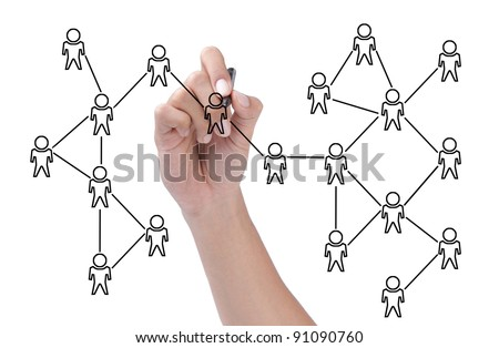 hand drawing a social network scheme isolated over white background - stock photo