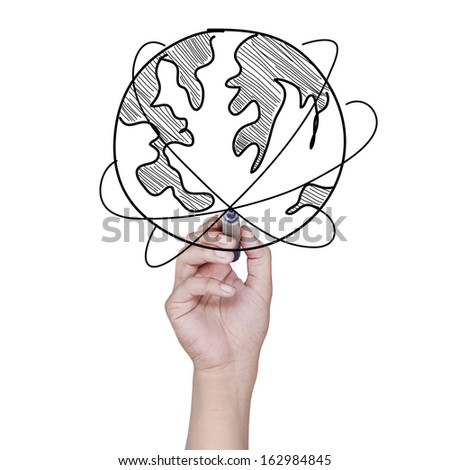 hand drawing a world map over white background - stock photo