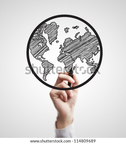 hand drawing abstract globe on a white background - stock photo