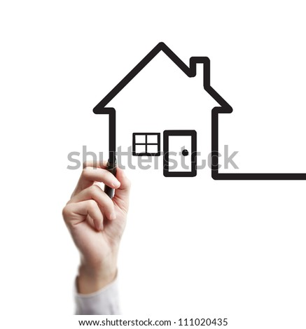 hand drawing abstract house on a white background - stock photo