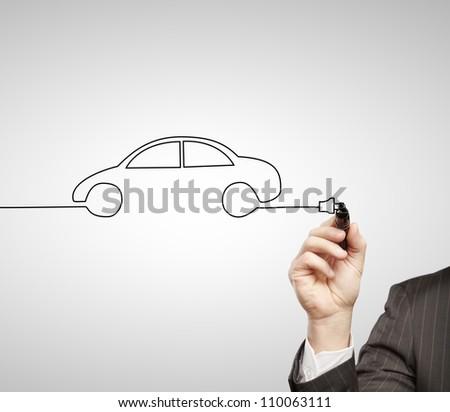 hand drawing abstract model car - stock photo