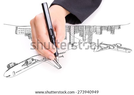 Hand drawing airplane around the city for transport and business concept. - stock photo