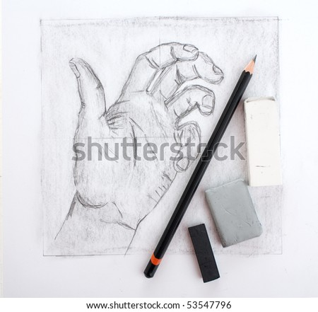 Hand drawing and tools - stock photo