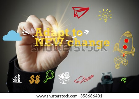 hand drawing and writing ADAPT TO NEW CHANGE , business concept , business idea - stock photo
