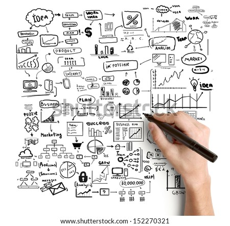 hand drawing big global concept - stock photo