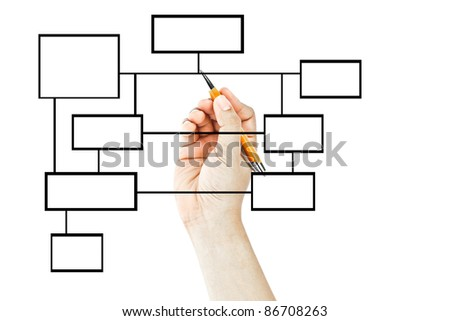 Hand drawing blank business diagram - stock photo