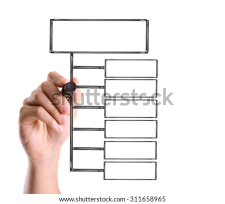 Hand drawing blank flow chart on transparent wipe board - stock photo