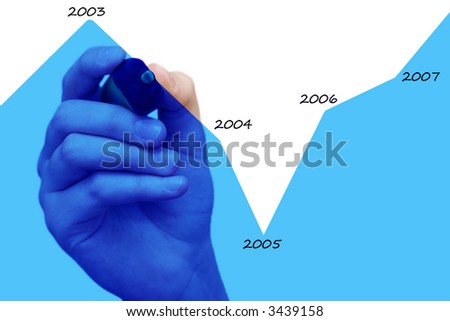 hand drawing blue chart with sales evolution - stock photo