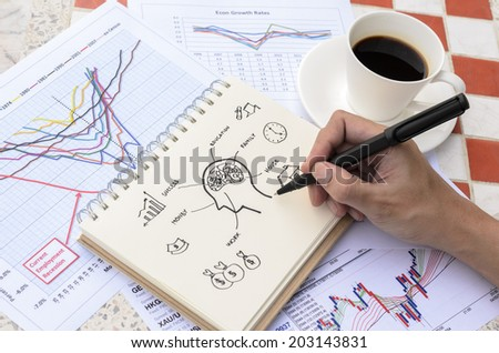 Hand Drawing Brain Thinking Idea Sketch with Coffee - stock photo