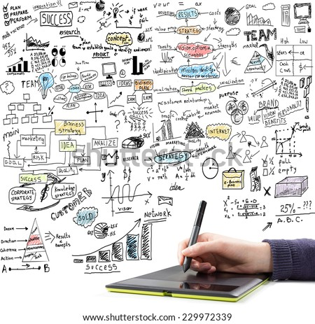 Hand drawing  brainstorming doodles elements on business communication and social media theme. Isolated on white background - stock photo